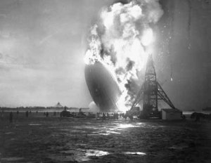 Crew Members Fleeing from Burning Hindenburg Airship