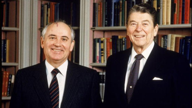 Portrait Of Ronald Reagan & Mikhail Gorbachev