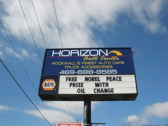 Nobel Peace Prize Oil Change